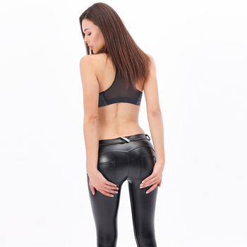 Royal wolf women sexy hip push up leggings sexy leather legging shaping effect high quality sports pants