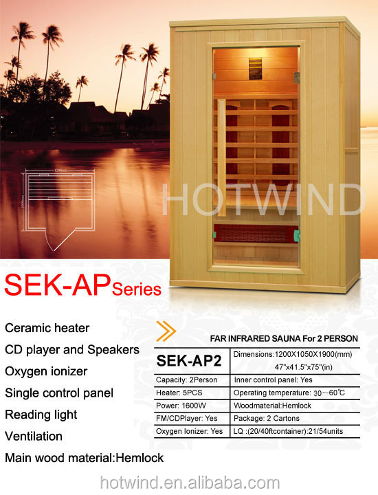 2017 NEW FAR INFRARED SAUNA FOR 2 PERSON-SEK AP2