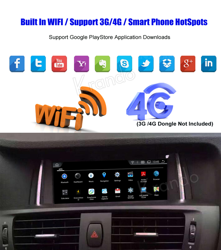 Krando Android 4.4.4 8.8''car navigation gps for bmw X3 F25 X4 F26 2013-2017 car radio multimedia player with bluetooth KD-BF305