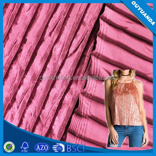 China Factory Shiny Pleat Iced Crushed Drape Polyester Stretch Crepe Fabric