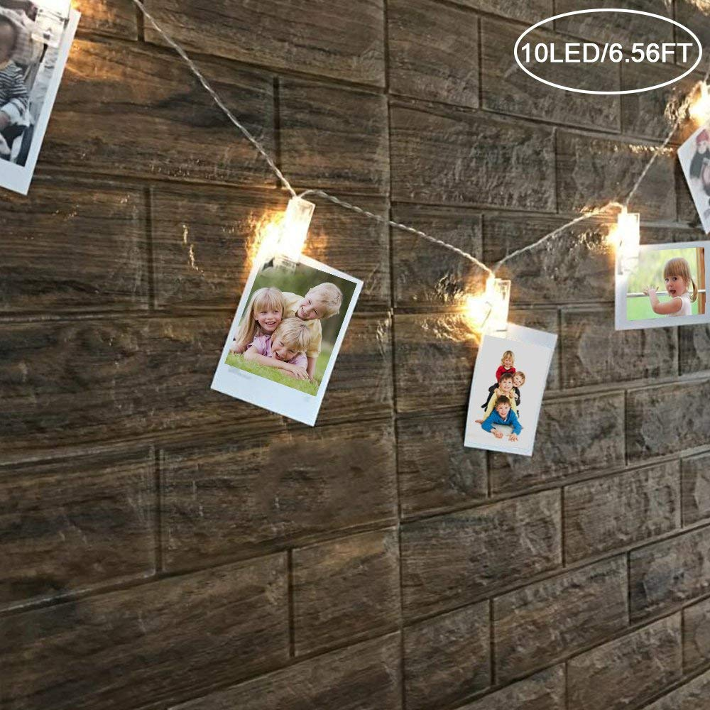 LED Photo Clip String Lights, FOME Led Photo Clips String Lights Battery Powered Photo String Light Perfect for Hanging Photos Pictures Notes Ideal gift for Bedroom Decoration 10LED/6.56FT