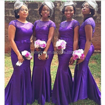 African Style Purple Mermaid Bridesmaid Dresses Sheer Neck Crystal Vestidos Longo Wedding Guest Dress To Party Long Maid Of Hono View Mermaid