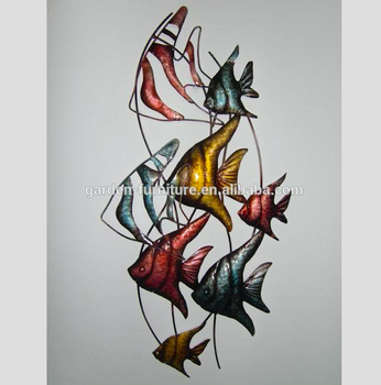 Whole Wrought Iron Wall Decor Handicraft Animal Sculpture Hanging Fish Decoration Art