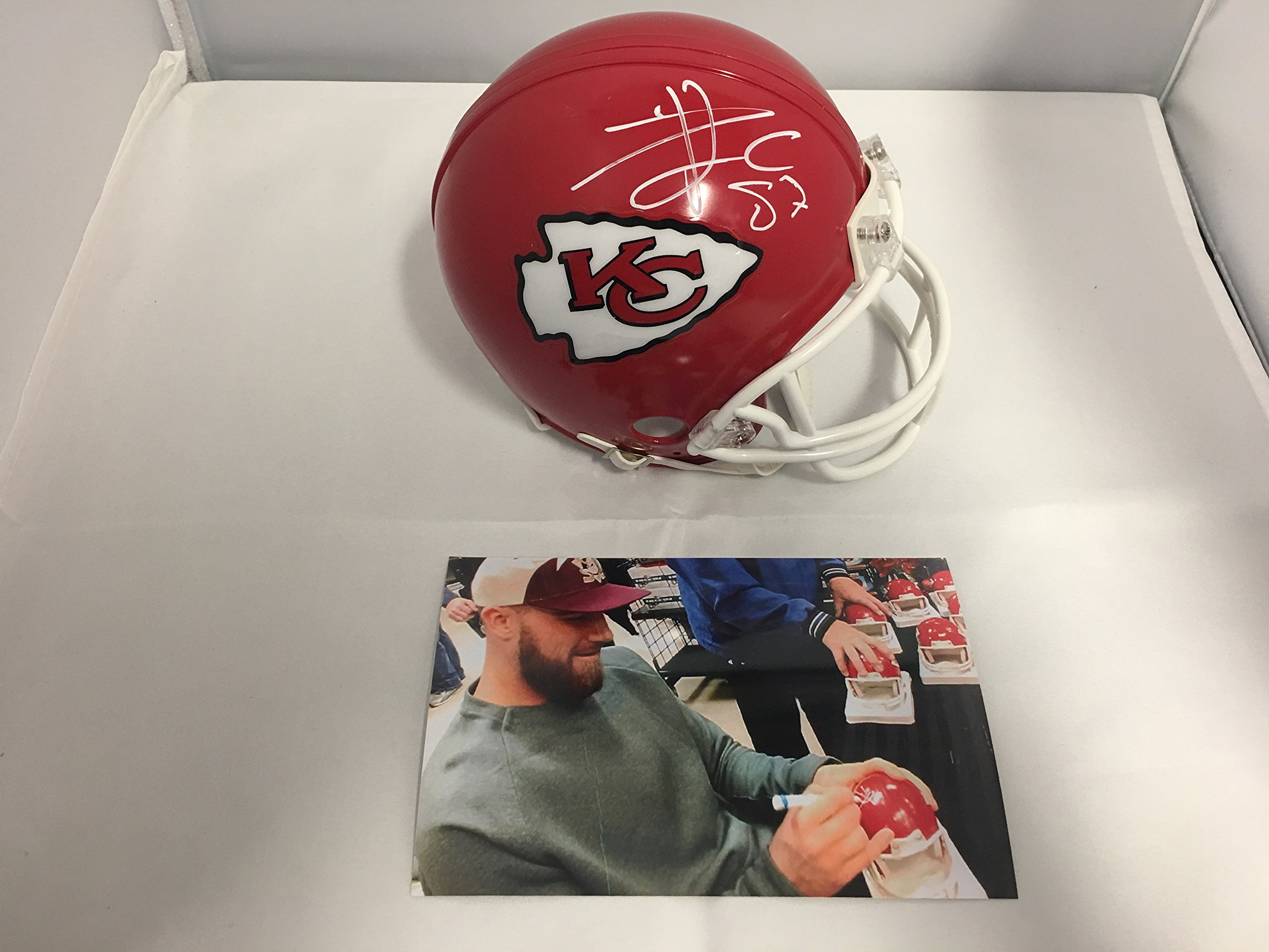 36142050a Travis Kelce Signed Autographed Kansas City Chiefs Mini Helmet COA Card    Hologram W Photo