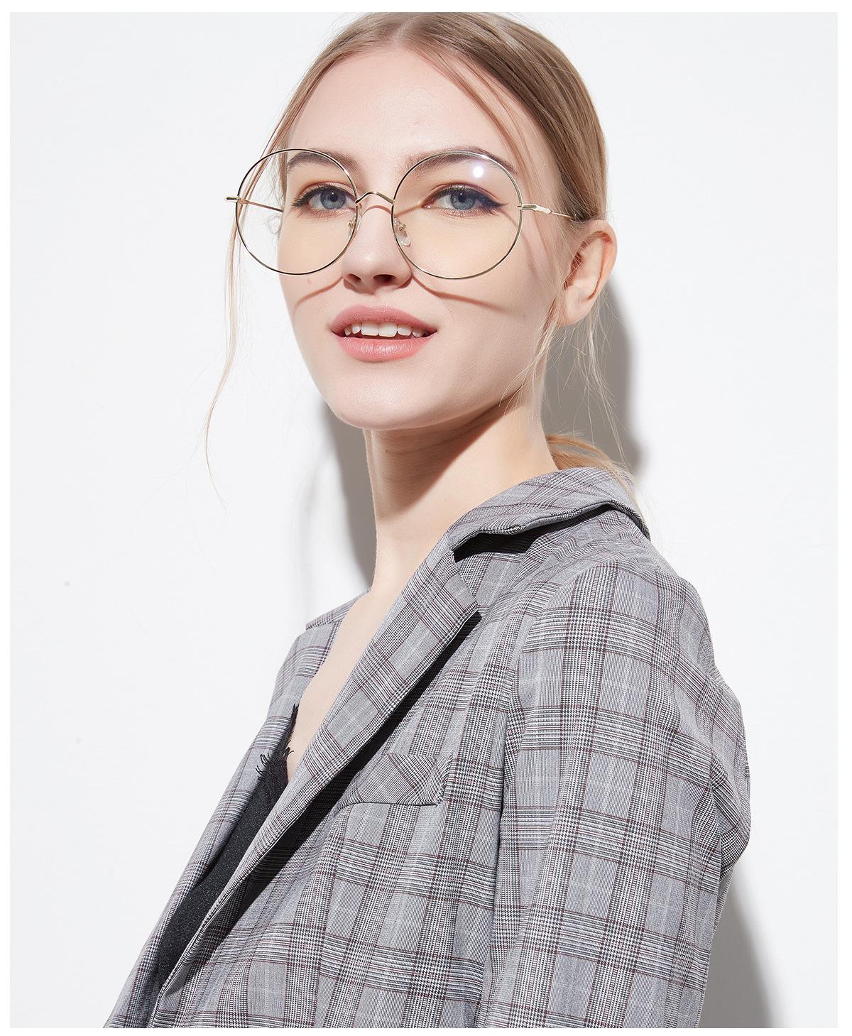 2019 New Man Woman Retro Large Round Glasses Transparent Metal Eyeglass Frame Black Silver Gold Spectacles Eyeglasses 3 Colors Men's Eyewear Frames Men's Glasses