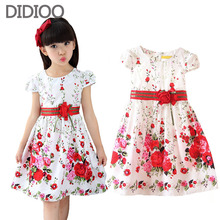 Kids dresses for girls clothing 2016 summer style floral print girl princess party dress baby kids
