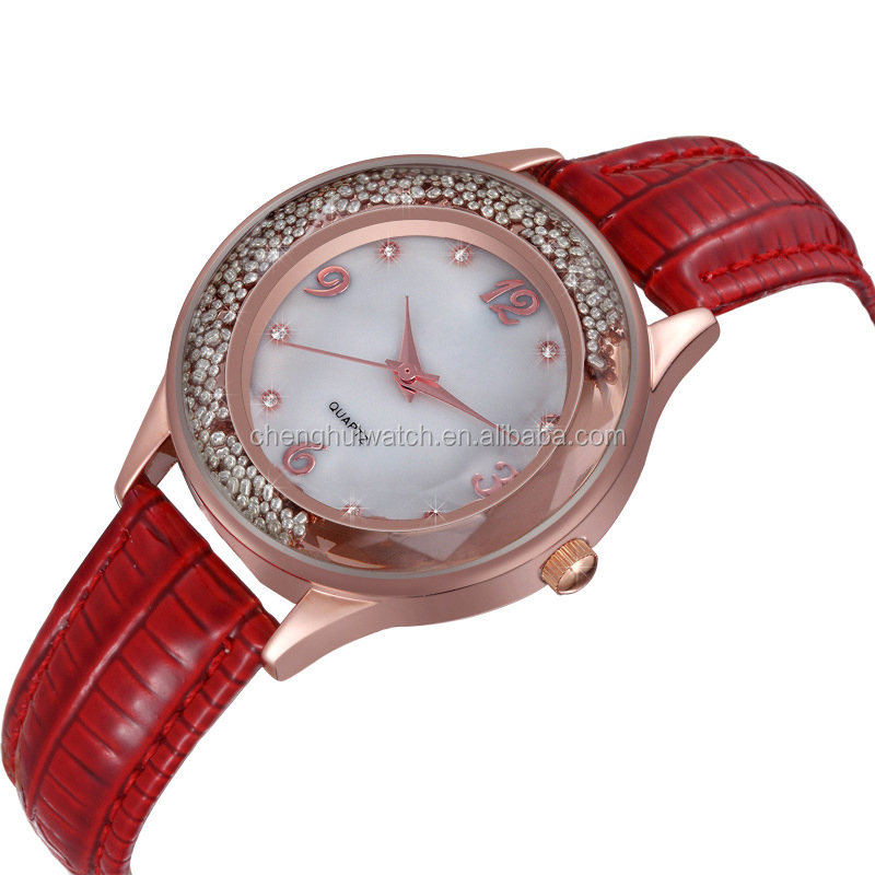 Rose Gold Bling diamond quartz watch Lady Women Dress Red Leather Band Quartz Wrist Watch