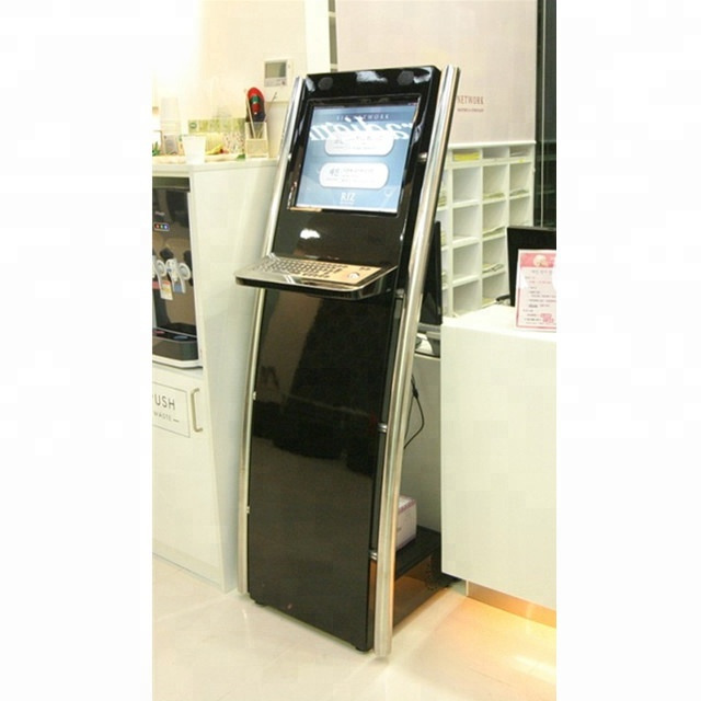 indoor free standing 19 inch interactive kiosk with metal keyboard
