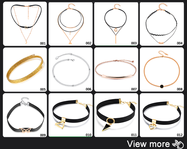 Fashion Jewelry Women Star Bar Charm Black Layer Choker Necklace Accessories
