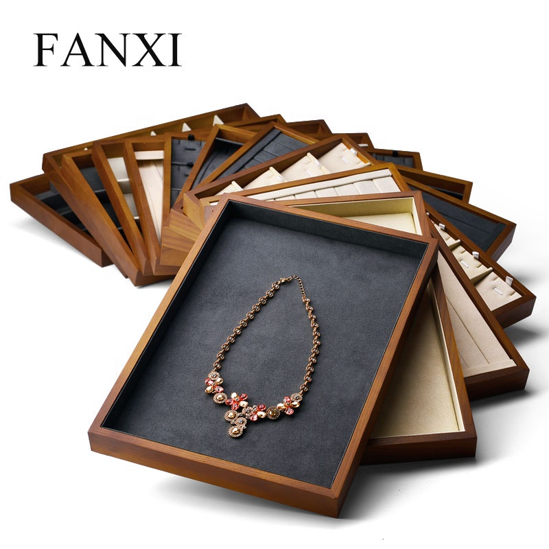 FANXI China New Stackable jewelry dark gray blank pendant ring tray creamy white solid wooden bracelet tray trinket tray, Gray and beige available or custom