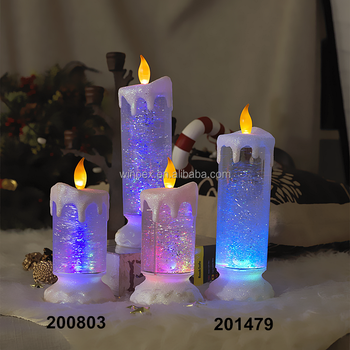 color changing led candle lights glitter swirling christmas candle lights - Led Christmas Candles
