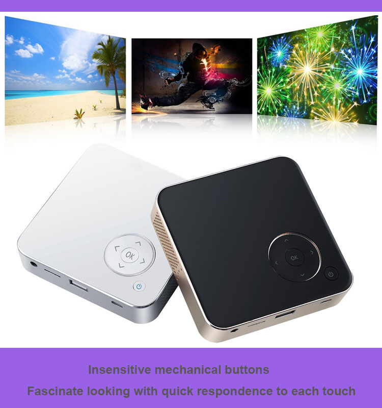 Factory Supply 0.21kgs Handy Palm Size Battery Powered Latest Pocket Android Mini Led Projector Home