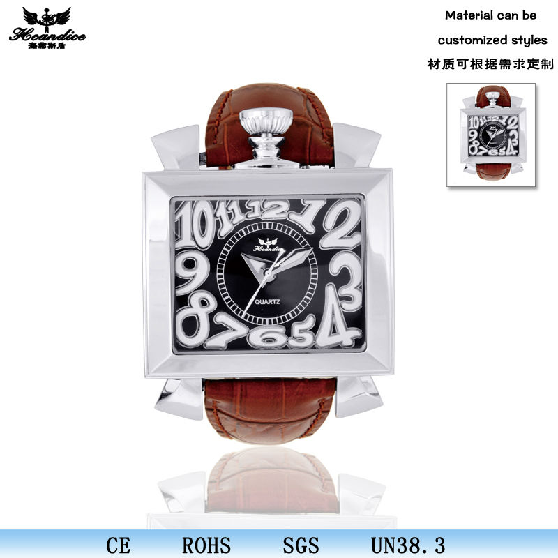 2016 big face square quartz watch with leather band for <strong>men</strong>
