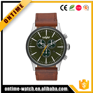 Top brands silver stainless steel chronograph watch genuine leather strap