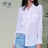 Wholesale Basic Classical 100% Pure Silk Stone Washed CDC Equipment Shirt for Women with Flap Pockets