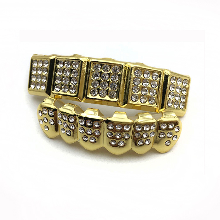 Gold Color Iced Out Rhinestone Teeth Grillz Top&Bottom Tooth Cap Hip Hop Body Jewelry фото