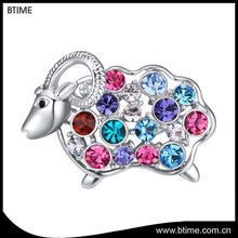 New design rhodium plating colorful crystal cute animal sheep brooch