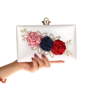 Women 3D Flower Clutches Purses Floral Evening Bag Pearls Clutch Handbags - Cream White