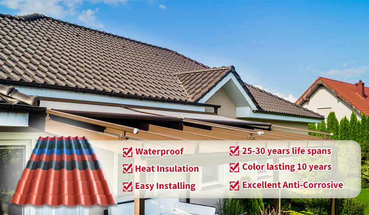 Heat and sound insulation royal style roof tile corrugated PVC  roofing sheets