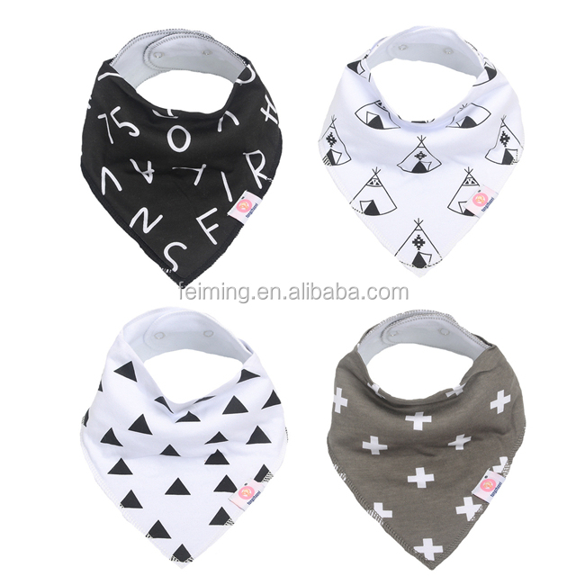 Wholesale good quality 100% cotton sublimation printed baby bib baby bandana bibs