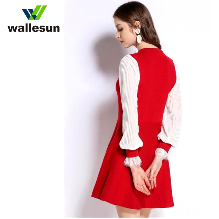 Casual Knitted Sweater Long Sleeve Sweater pullover Round Neck Irregular Loose Sweater Dress