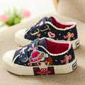 Princess Shoes 2016 New Autumn Children Canvas Sneakers Kids Fashion Carton Denim Flat Casual Shoes for