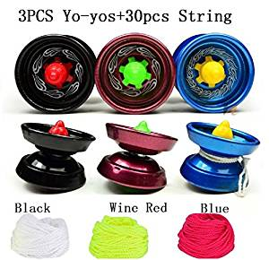 Bluesky 3Pcs Yoyos with 30 Pcs Polyester Yoyo String Pro-poly String for Outdoor Sports