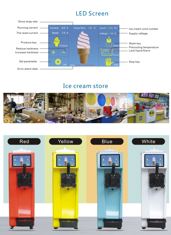 Newest Free shipping Milk Shake Yogurt slim mini table top counter top desktop NSF CE fruit softy ice cream making machine