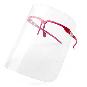 Tinksky Novelty Kitchen Cooking Double-sided Anti-fog Anti-Oil Splash Clear Face Mask Face Shield Protector (Rosy)