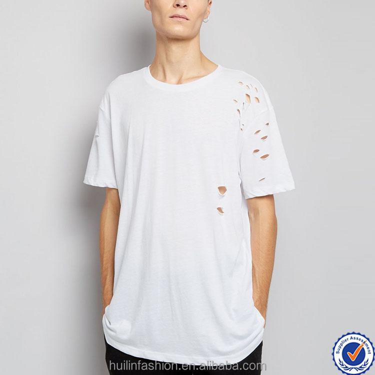 Zeer Men Ripped T Shirt Wholesale Round Neck Short Sleeve Tee Casual #CV15