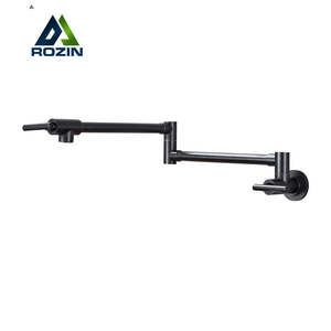 Rozin Black Brass Pot Filler Tap Wall Mounted Kitchen Faucet Single Cold Single Hole Tap Rotate Folding Spout Oil Rubbed Bronze