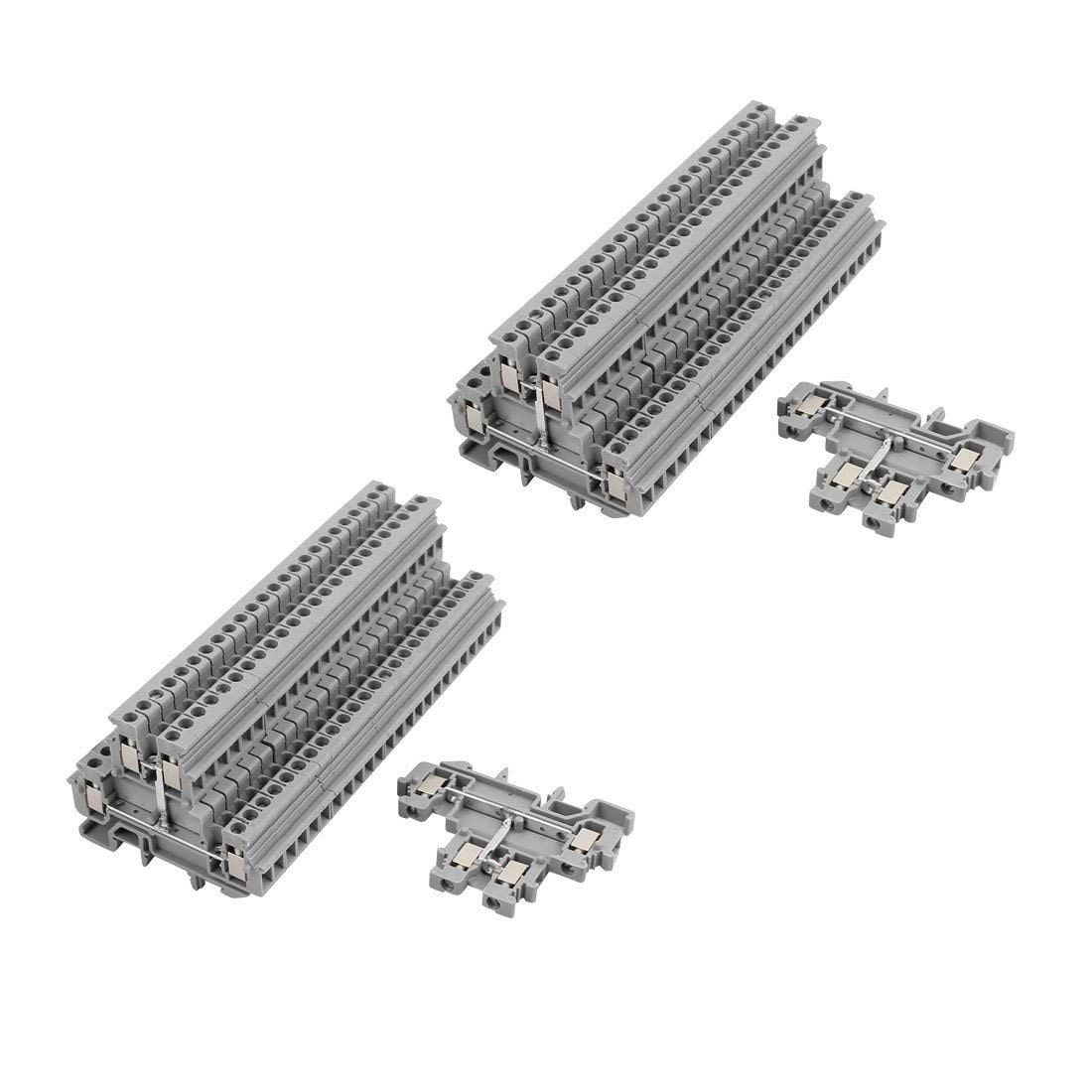 uxcell 50Pcs MBKKB2.5 DIN Rail Mount Double-Level Terminal Block 500V 32A Gray