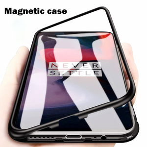 Factory Price Metal Magnetic Adsorption Phone Case For Oneplus 7 Pro 6T 5T Tempered Glass Back Cover Case