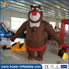 2016 hot sale giant inflatable bear, brown cartoon characters for advertising