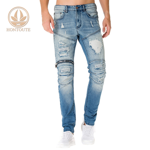 Sales Promotion Ripped Biker Men Pent New Style Distressed Trouser Fashion Blue Stock Jean For Man