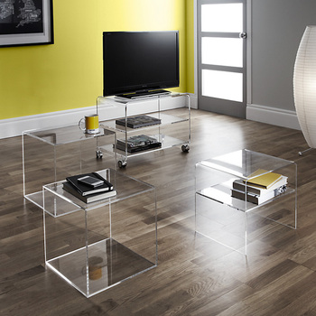 Acrylic Cube Nest Of 2 Tables, Lucite Console Table Bedside Table Living  Room Furniture Side