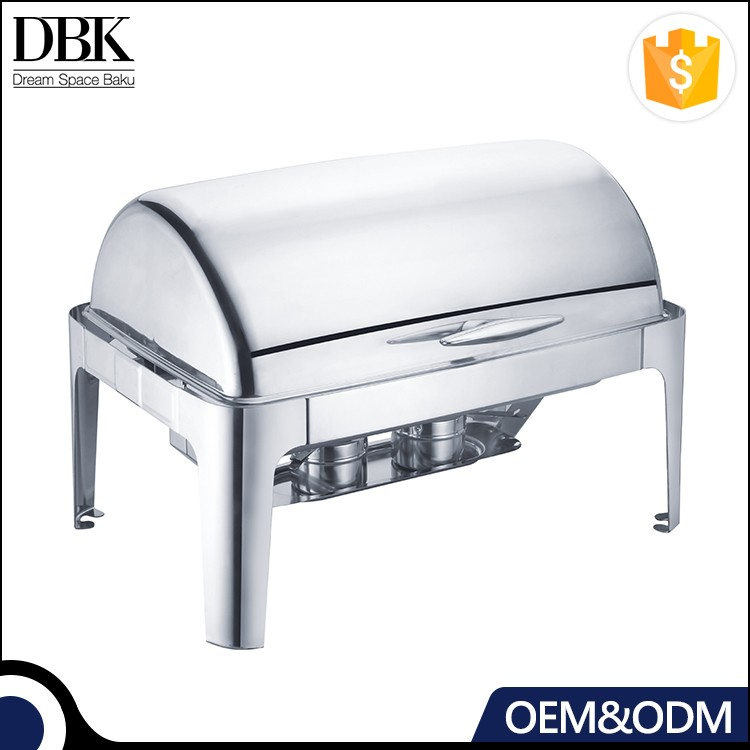Hotel & catering all stainless steel rectangular induction buffet chafing dish/ food warmer dish