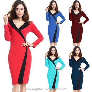 New Plus Size V Neck Long Sleeve Ladies Western Office Wear Fashion