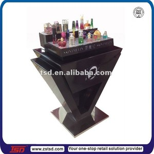TSD-W958 Custom perfume stand with light/wooden perfume stand/perfume stand shelf