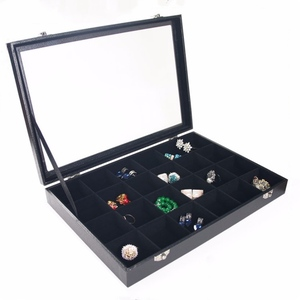 Factory Promotional Glass lid 24 Slot Black Compartment Cross Velvet Ligning Jewelry Box