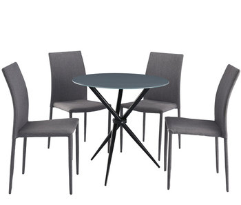 Black Glass Dining Set With 4 Chairs