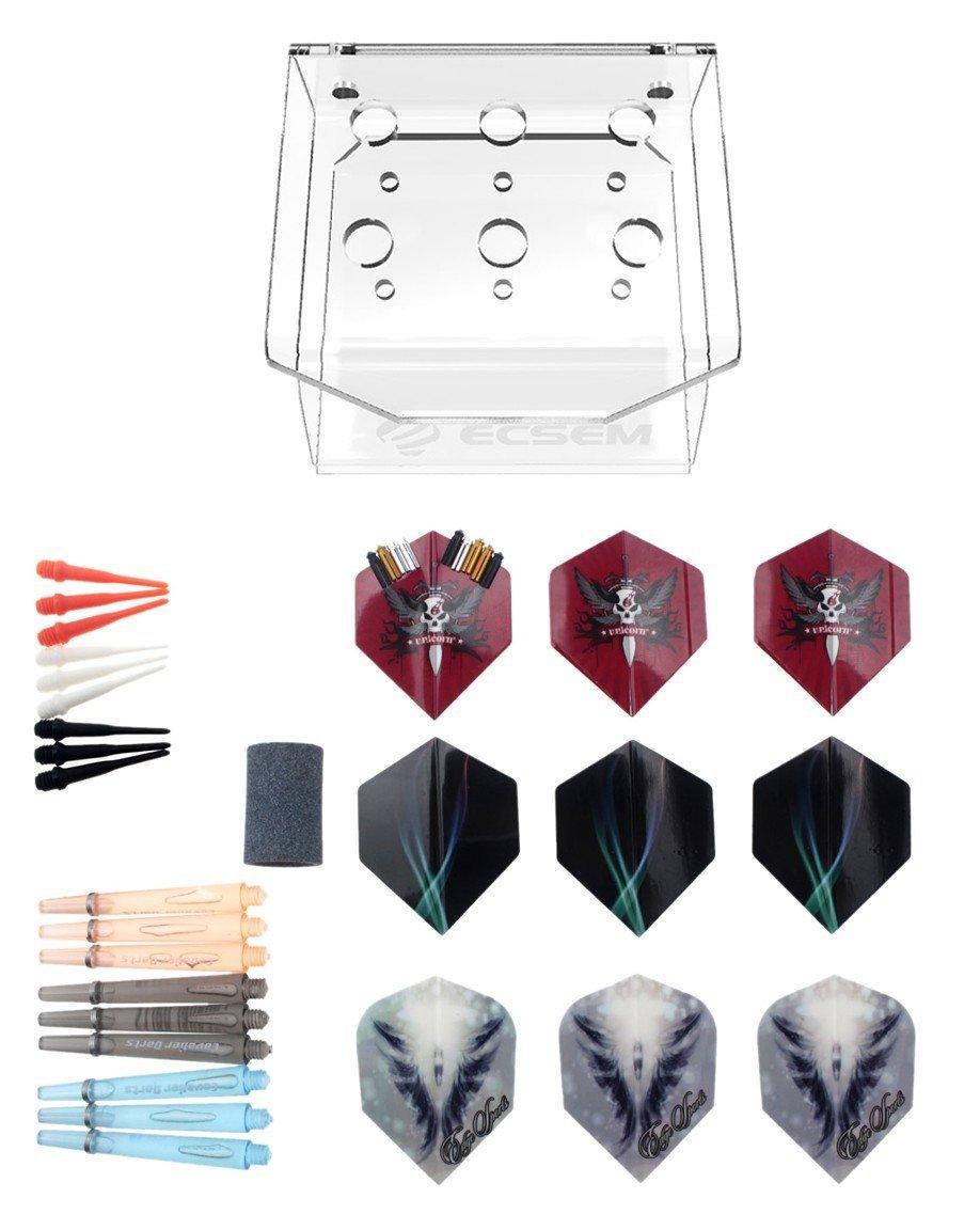 RuenTech Soft Tip Dart Points,Dart Accessories:2BA Dart Points / Darts shafts / Dart Flights / Darts Holder / Darts Sharpener (47PCS Darts Accessories)