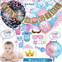 Umiss, Gender Reveal Party Supplies Baby Shower Decorations kit, Boy or Girl Balloons Banner Confetti Photo Props