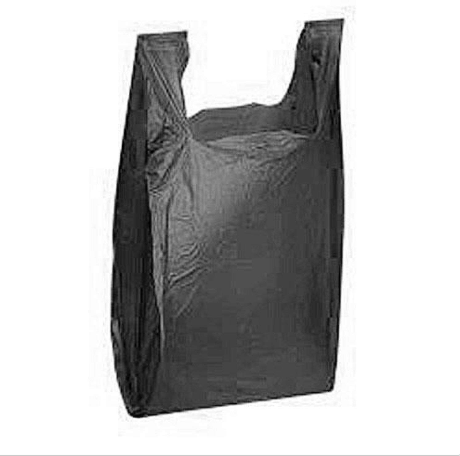 "USA Premium Store 1000 Black Plastic Shopping Grocery Bags Retail Grocery T-Shirt 11"" x 6"" x 21"""
