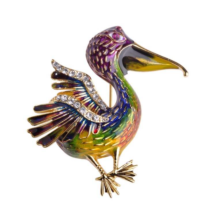 En gros Émail Coloré Grand Strass Broches Broche Cadeau Animal Oiseau Broche