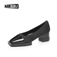 2017 black designer luxury brand fashion square toe slip-on women stylish shoes