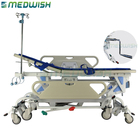 With iv pole support multifunction hospital portable hydraulic ambulance stretcher on eight wheels