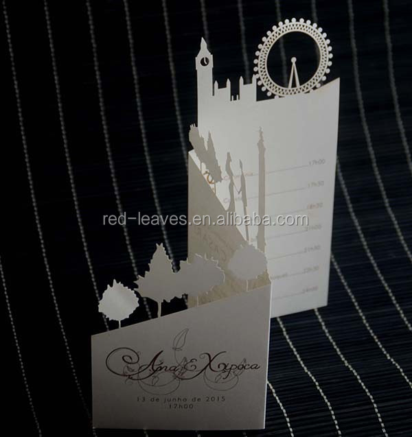 Special design 3 folding wedding invitation beautiful handmade greeting card