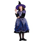 Top quality deluxe kids costume for Halloween carnival party Child Fancy Star Witch cosplay dress and hat wholesale