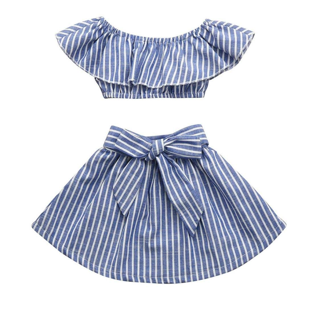 kaiCran Baby Clothes Girls,Toddler Kids Baby Girls Christmas Cotton Outfits Sets Cartoon Stripe Tops and Solid Pants